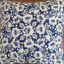 Load image into Gallery viewer, Blue and White Hibiscus Cushion
