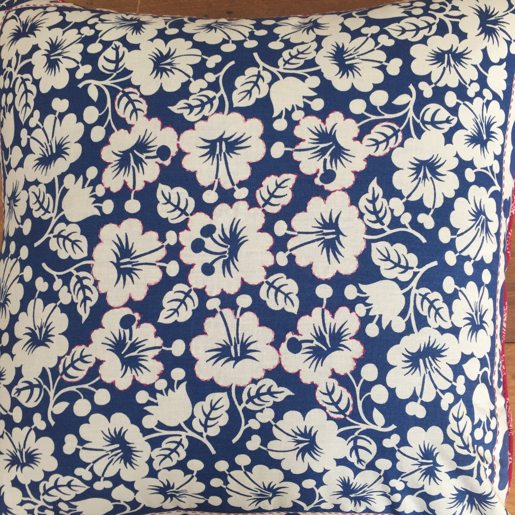 Blue and White Hibiscus Cushion