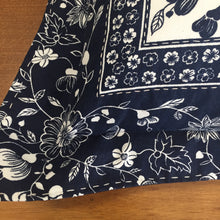 Load image into Gallery viewer, Navy and White floral cushion