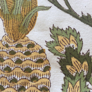 Woodblock Pineapple Print on Canvas
