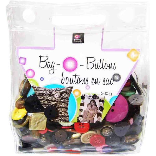 CRAFTING ESSENTIALS Snap Bag O' Buttons - Mixed - 300 g (10 oz)