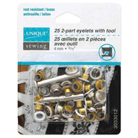 UNIQUE SEWING 2-Part Eyelets with Tool White 4mm (1⁄8″) - 25 pcs