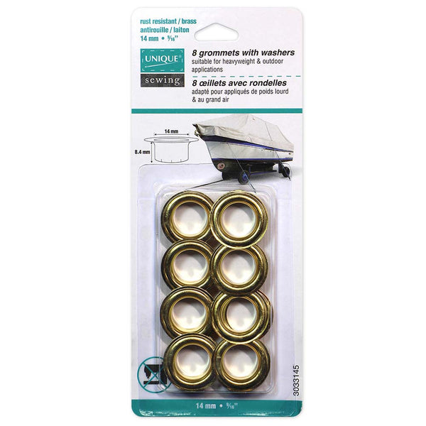 UNIQUE SEWING Grommets - Gold 14 x 8.4mm (9/16″ x 5/16″)- 8 sets