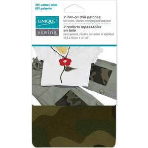 UNIQUE SEWING Drill Patches Camouflage Green - 10 x 15cm (4″ x 6″) - 2pcs- WT