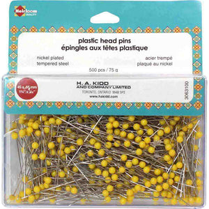 HEIRLOOM Quilting Plastic Head Pins Yellow - 500pcs - 45mm (13⁄4″)