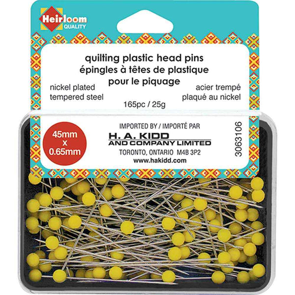 HEIRLOOM Quilting Plastic Head Pins - Yellow - 45mm (13⁄4″)