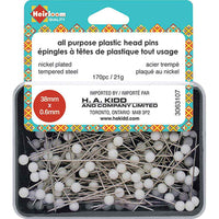 HEIRLOOM All-Purpose Plastic Head Pins - White - 38mm (11⁄2″)