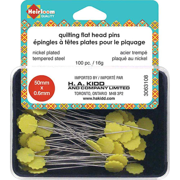 HEIRLOOM Quilting Flat Head Pins - Yellow - 50mm (2″)
