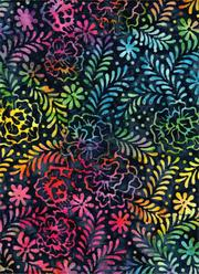 Batik Textiles Navy with colorful flowers  4701