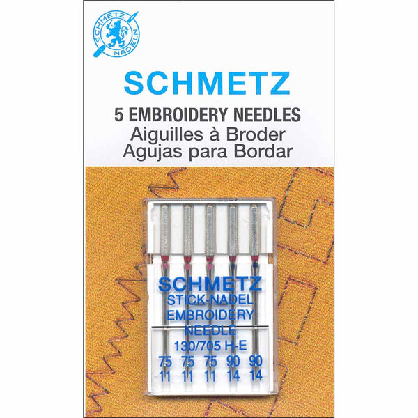 SCHMETZ #1742 Embroidery Needles Carded - Assorted Sizes - 5 count