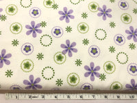 Purple & Green Flowers on White - KPF 63