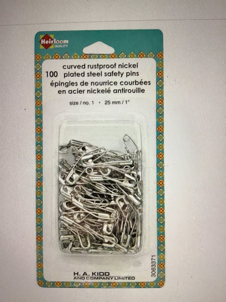 100 curved rustproof nickel safety pins
