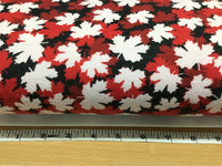 Flannel 0011- Black with red and white maple leafs