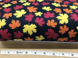 Flannel 2485 Black with yellow, orange, and red maple leafs