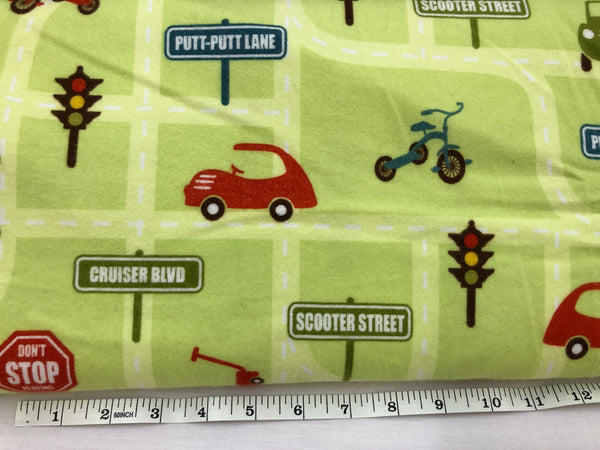 Roads and cars and signs  on green - Flannel KPF#28
