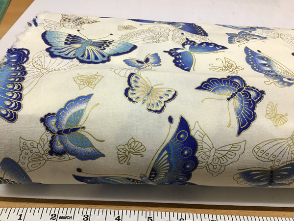Metallic cotton - Cream with Blue Butterflies