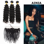 AINIA Indian Deep Wave 3 Bundles with 13*4 Ear to Ear Lace Frontal Closure Deals