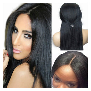 Peruvian Straight Hair 3 Bundles with 4*4 Lace Closure