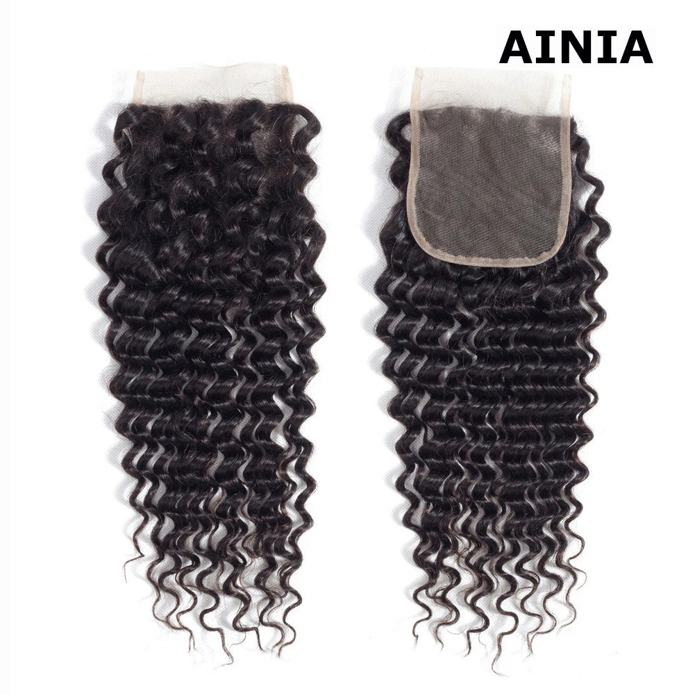 AINIA Brazilian Virgin Hair Deep Wave 4*4 Lace Closure Free Part 100% Human Hair Closure