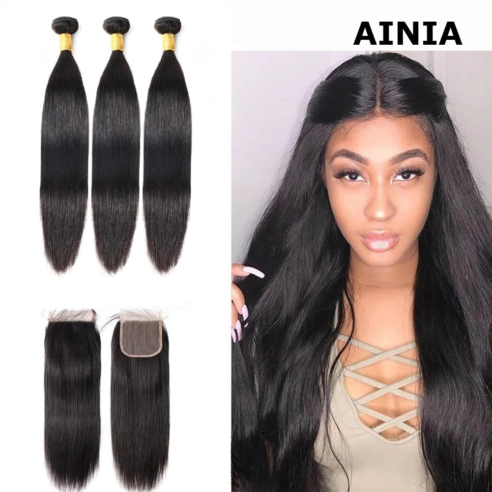 AINIA Peruvian Straight Hair 3 Bundles with 4*4 Lace Closure