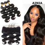 AINIA Brazilian Virgin Body Wave Hair 3 Bundles With Lace Frontal Hair Closure