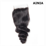 AINIA Loose Wave 4*4 Lace Closure 1Pack Human Virgin Hair Extensions Natural Color