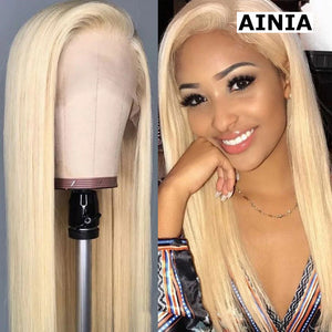 AINIA 613 Blonde Silky Straight 13*4 Lace Front Human Hair Wig, 150% Density 12-24 Inch