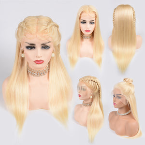 Mswisdom 613 Blonde Silky Straight 13*4 Lace Front Human Hair Wig, 150% Density 12-24 Inch