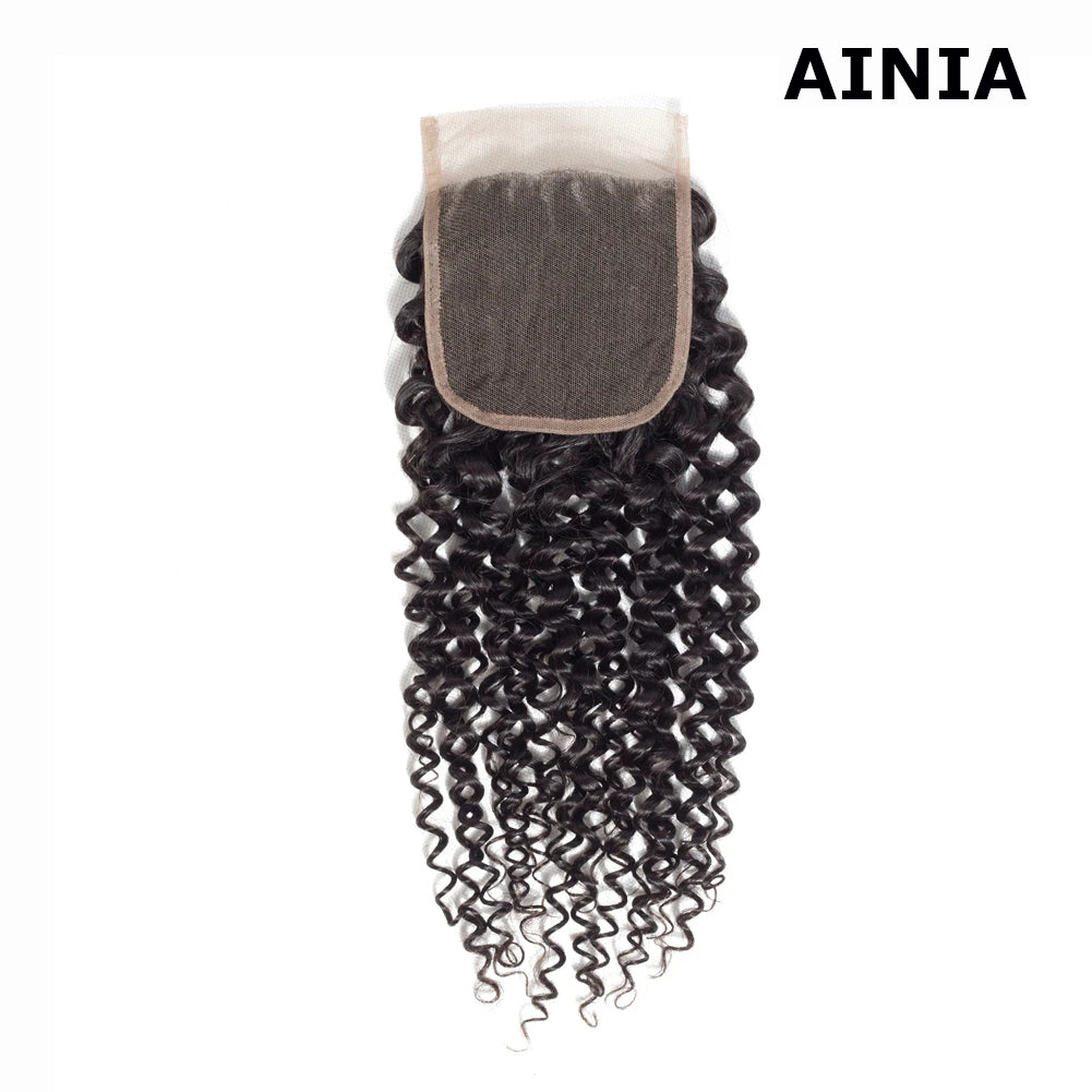 AINIA Brazilian Virgin Curly Hair 4x4 Lace Closure