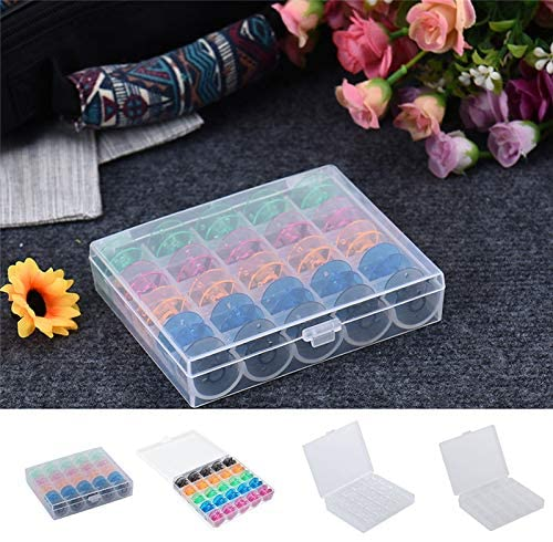 AINIA 25Pcs Colorful Plastic Empty Bobbins Sewing Machine Spools Case Storage Box
