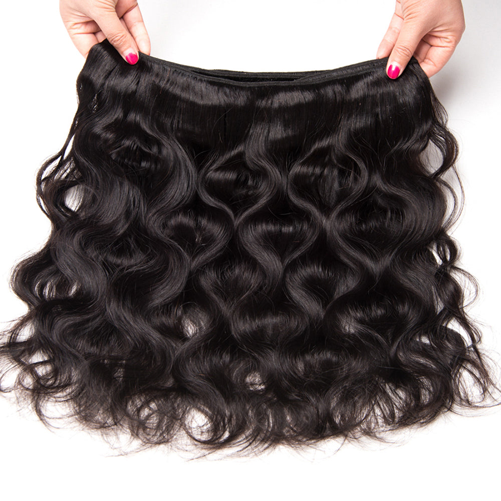 Mswisdom Brazilian Virgin Body Wave Hair 3 Bundles With Lace Frontal Hair Closure