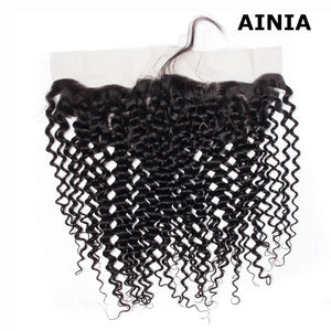 AINIA Brazilian Curly Hair 13x4 Lace Frontal Closure Natural Color