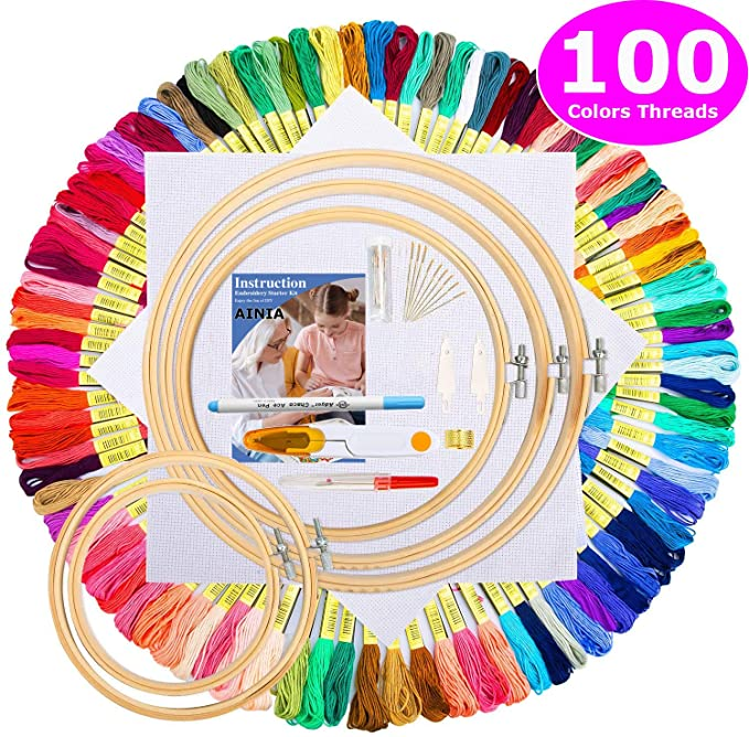 AINIA Hand Embroidery Kit with Instructions, 100 Colors Threads, 2 Pieces Aida Cloth, Embroidery Hoops