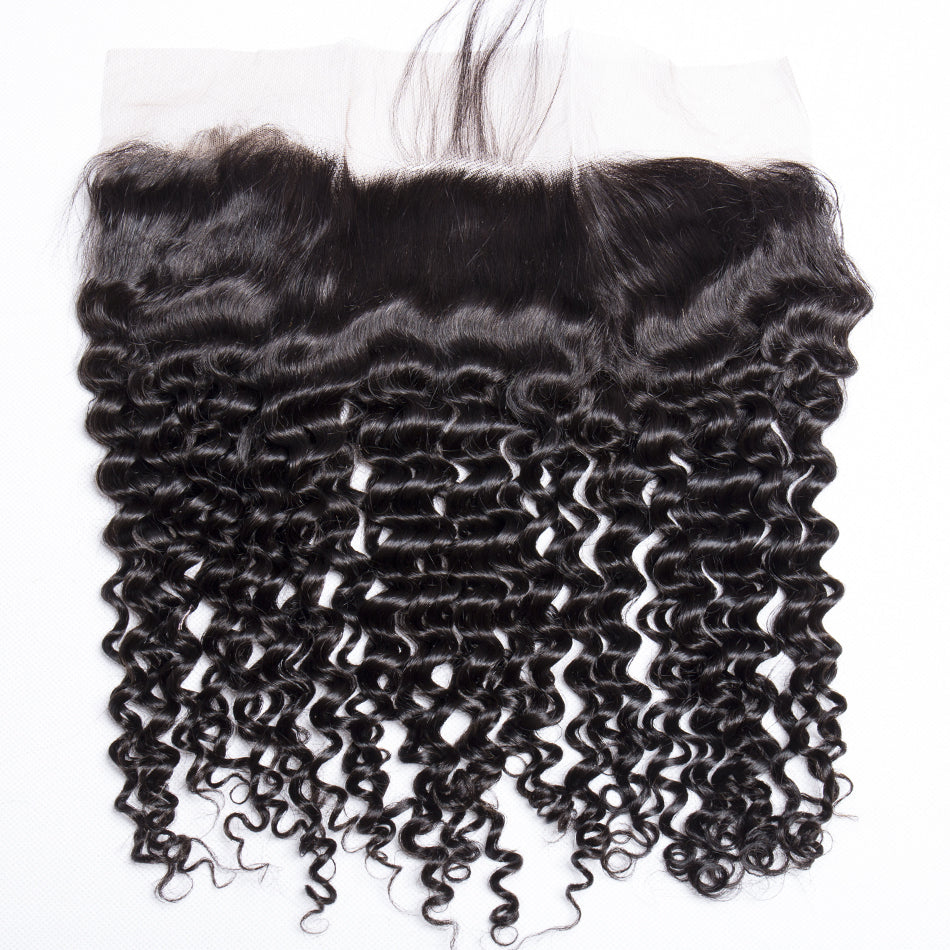 Mswisdom Brazilian Curly Hair 13x4 Lace Frontal Closure Natural Color