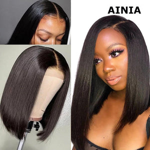 AINIA Straight Short Bob Wig 13*4 Lace Front Human Hair Wigs For Black Women 150% density 8-14 inch