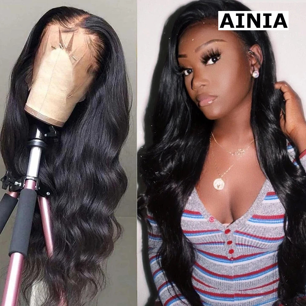 AINIA Brazilian Body Wave 13*4 Lace Front Wig, Human Hair Wigs With Baby Hair, 10-24inch
