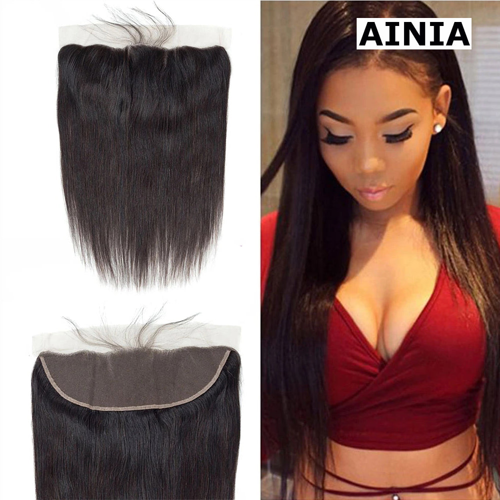 AINIA Ear to Ear 13*4 Straight Lace Frontal Closure. 100% Virgin Human Hair Mswisdom