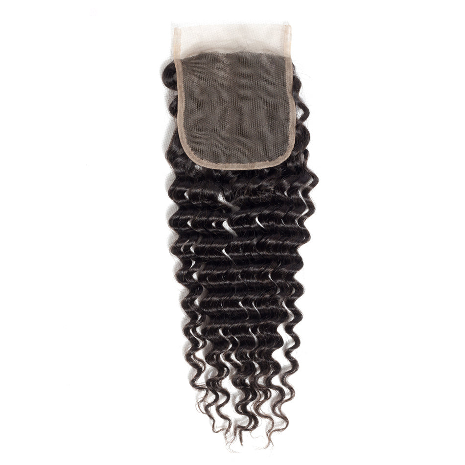 Mswisdom Brazilian Virgin Hair Deep Wave 4*4 Lace Closure Free Part 100% Human Hair Closure