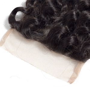 Mswisdom Loose Wave 4*4 Lace Closure 1Pack Human Virgin Hair Extensions Natural Color