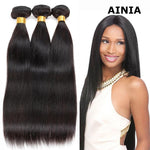 Load image into Gallery viewer, AINIA Hair Brazilian Hair Straight Human Virgin Hair Weave 3 Bundles