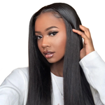 Mswisdom 13*4 Lace Front Silky Straight Human Hair Wig 150% Density 10 inch- 24 inch