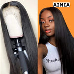 AINIA 13*4 Lace Front Silky Straight Human Hair Wig 150% Density 10 inch- 24 inch