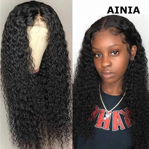 AINIA Hair 13X4 Lace Front Curly Human Hair Wig On Sale 10inch-24inch