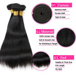 Load image into Gallery viewer, Mswisdom Hair Brazilian Hair Straight Human Virgin Hair Weave 3 Bundles
