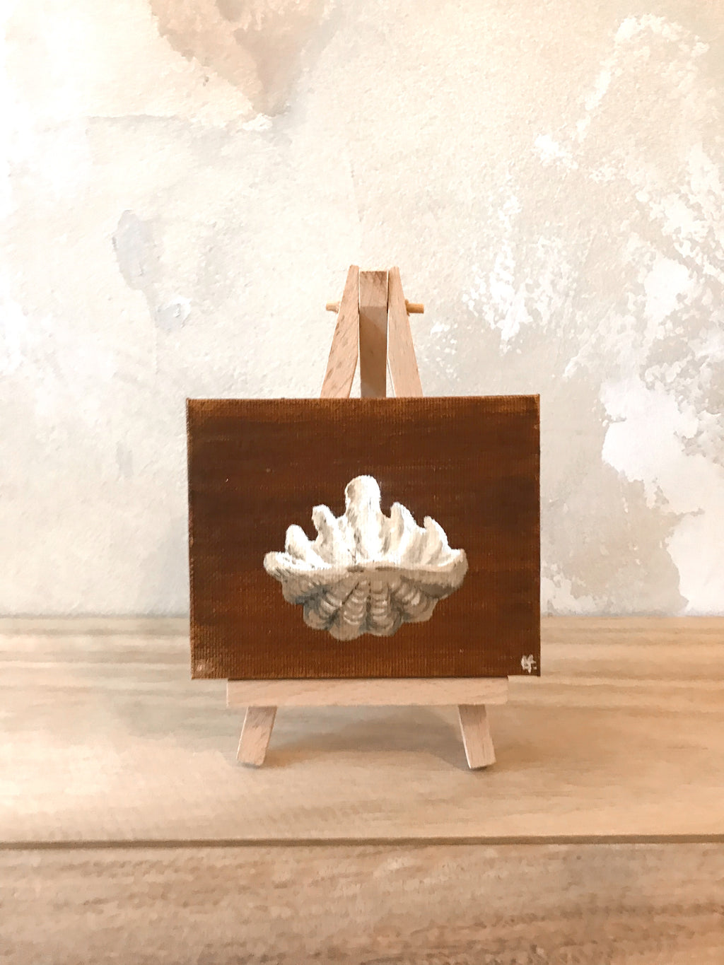 Vintage Clam Shell 8cm + Easel Original Artwork