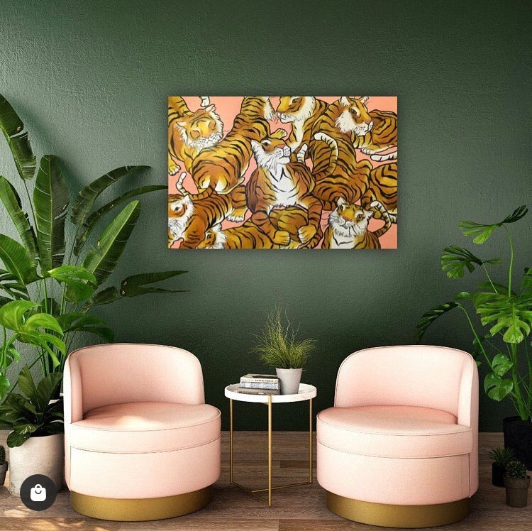 "Sampa's Tiger Party Original 24x36"" Artwork"