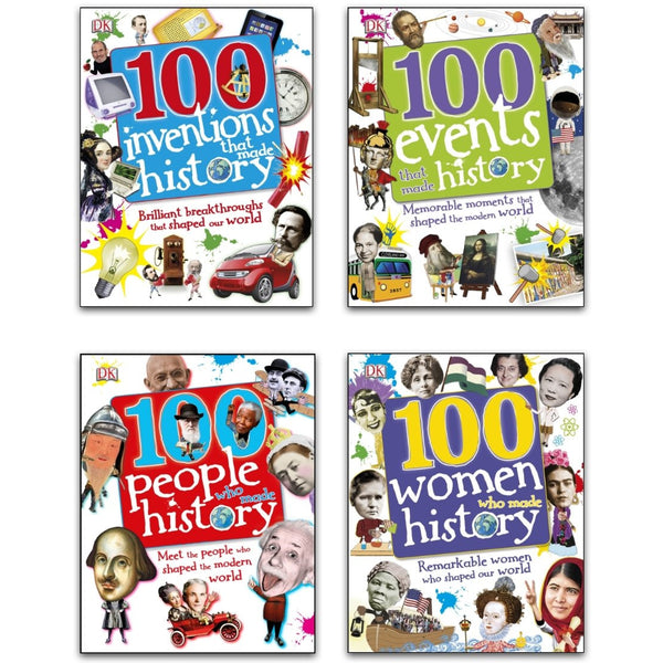 100 History Series 4 Books Collection Set (100 People Who Made History, 100 Events, 100 Inventions, 100 Women)