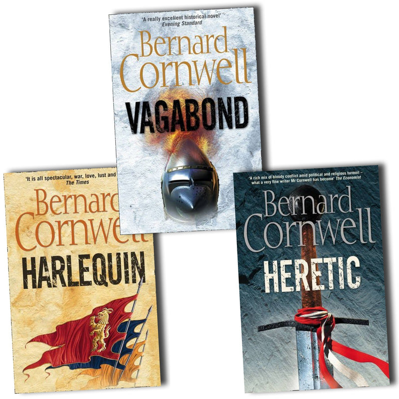 Bernard Cornwell Grail Quest 3 Books Collection Set Vagabond, Harlequin, Heretic