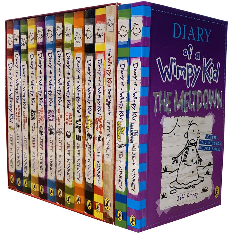 Diary of a Wimpy Kid Collection 14 Books Set by Jeff Kinney Meltdown, Getaway, Double Down, Old School