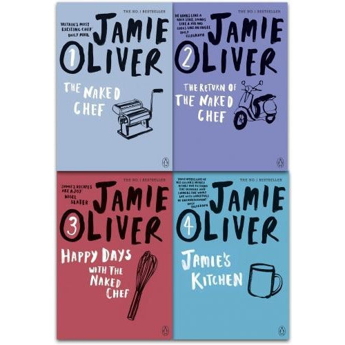 Jamie Oliver Collection 4 Books Set - The Naked Chef The Return Of The Naked Chef Happy Days With .. - books 4 people